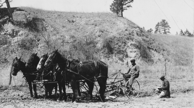 plowing_with_a_horse_drawn_plow_-_nara_-_285460